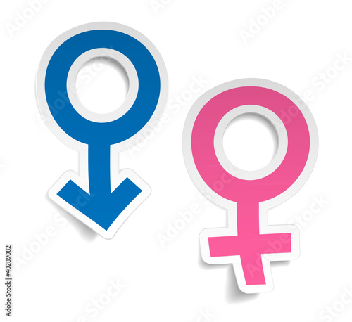 Vector stickers wtih mars and venus symbols