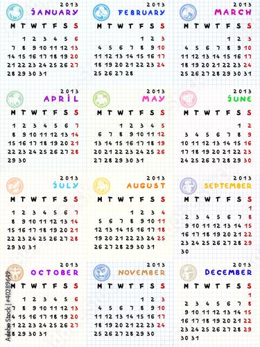 zodiac calendar template