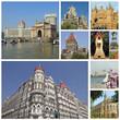 collage with landmarks of indian city Mumbai (formerly Bombay )