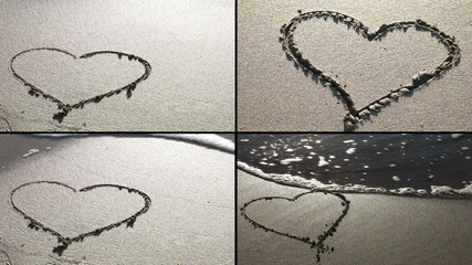 Heart drawn in the sand (4 frame)