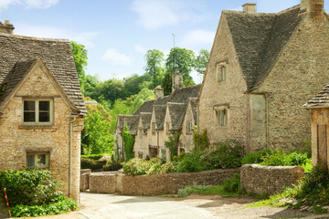 Bibury. Traditional Cotswold cottages in England, UK.