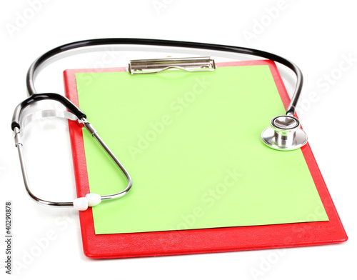 Stethoscope and blank clipboard isolated on white
