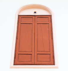wooden window on white background