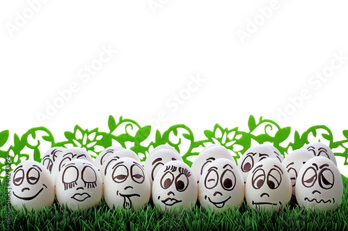 White easter eggs and funny faces