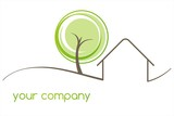 Fototapety Home , tree, green Eco friendly business logo design