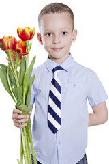 boy with tulips