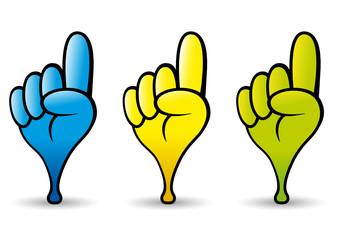 Puntatore a forma di manina in tre colori