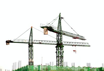Two Cranes on a Construction Site