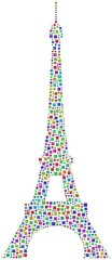 A harlequin mosaic of the Eiffel Tower in Paris (France)