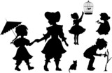 Set of silhouettes kids