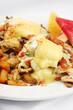 Chicken mushroom and tomato eggs benedict