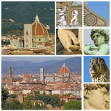 collage with florentine touristic attractions,Florence, Tuscany, poster