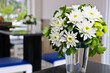 White Chrysanthemum flowers in glass vase