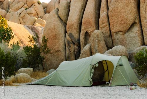 tent desert stones
