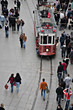Istanbul, Turkey - October 18, 2008: Tram and walking people, Is