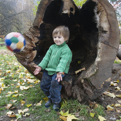 Boy throwing soccer ball