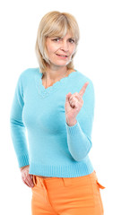 Middle age woman threatening finger
