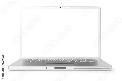Laptop isolated on white background, clipping path for screen