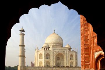 The Taj Mahal  white Marble mausoleum.  Agra, India.
