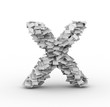 Letter X, stacked from paper sheets