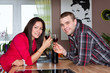Young couple with wine glass