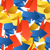Colorful polygonal origami arrows seamless background poster