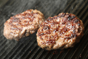 Beef Burgers Cooking on Griddle