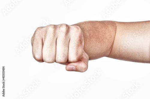 Hand, fist, elbow. On a white background.