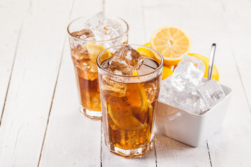Lemon Ice Tea on white wooden table