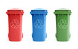 Three colorful recycle bins isolated on white background