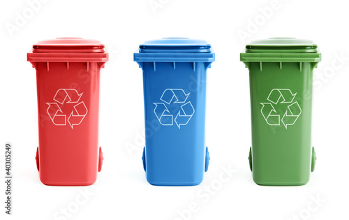 Three colorful recycle bins isolated on white background - 40305249