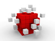 teamwork business abstract concept with red cubes.