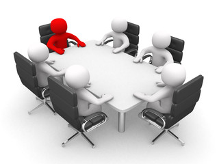 Leadership and team at conference table - 3d render