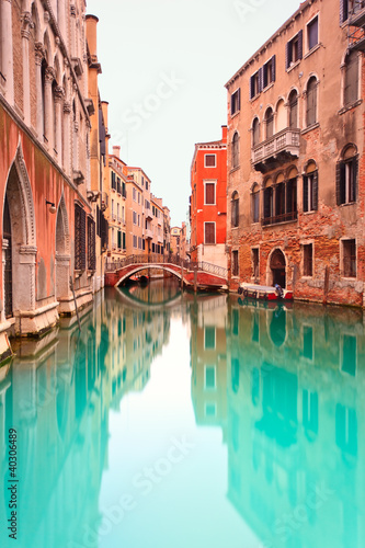 Venice, Canal with bridge detail. Long exposure photography. - 40306489