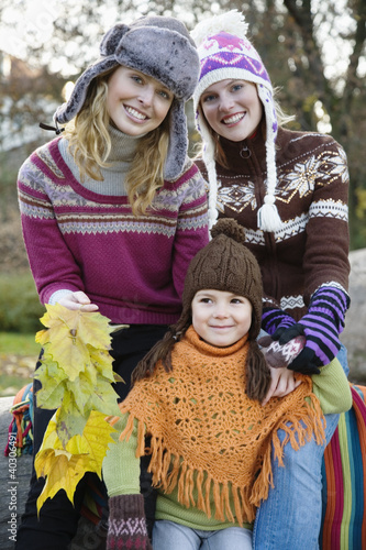 Young women with girl, , portrait