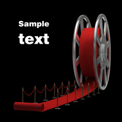 Cinema film roll and red carpet isolated. 3d