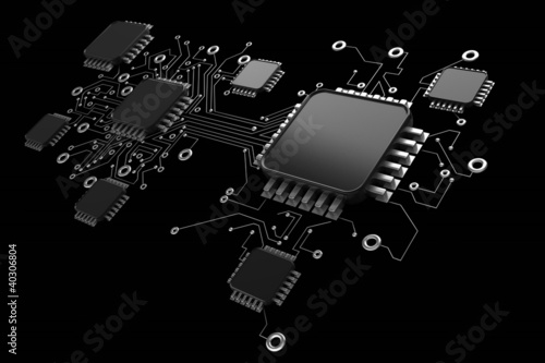 Circuit board. high resolution 3d