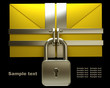 Yellow mail and lock on black background.