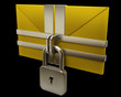 Yellow mail and lock on black background