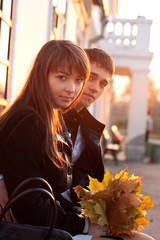 Young Beautiful Couple in Love Outdoor Backlit