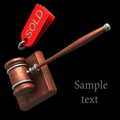 Auction gavel isolated on black background High resolution 3D