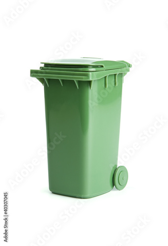 Green garbage, trash bin isolated on white background