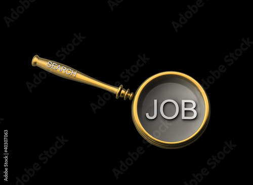 Concept with magnifying glass isolated