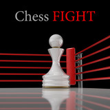 concept. chess pawn on a boxing ring 3D