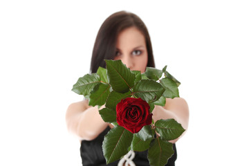 Beautiful woman in sexy dress holding red rose