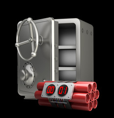 steel bank safe with Explosives alarm clock i