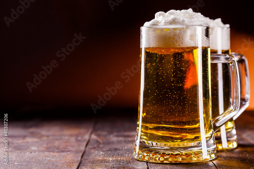 Beer on wooden table
