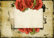 Grunge background with card and roses