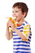 Boy eating a banana