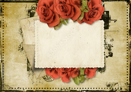 Fotobehang Retro Grunge background with card and roses